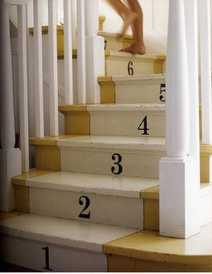 numbers painted on stairs