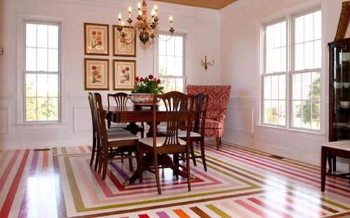 painted stripes on hardwood floor