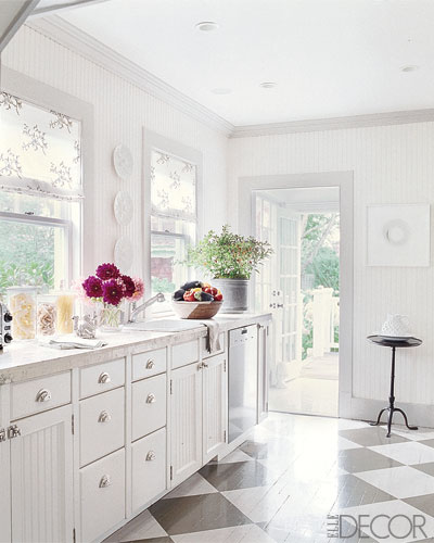 White Painted Wood Floor With Modern Cabinetry: Painting Hardwood Floors