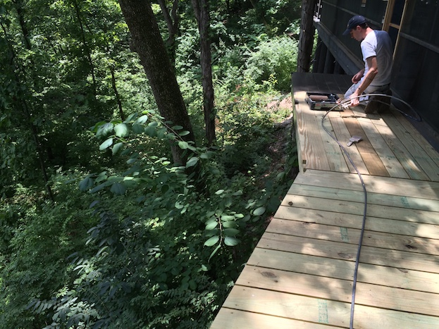 staining wooden walkway